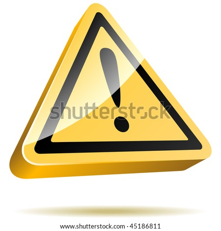 3D yellow warning sign isolated on white background.