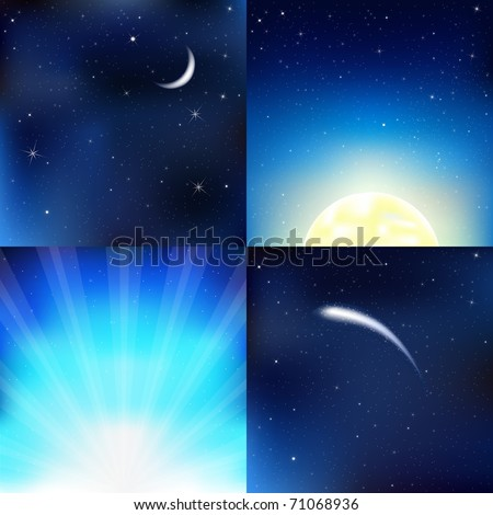 4 Dark Blue Sky, With Moon, Stars And Beams, Vector Illustration