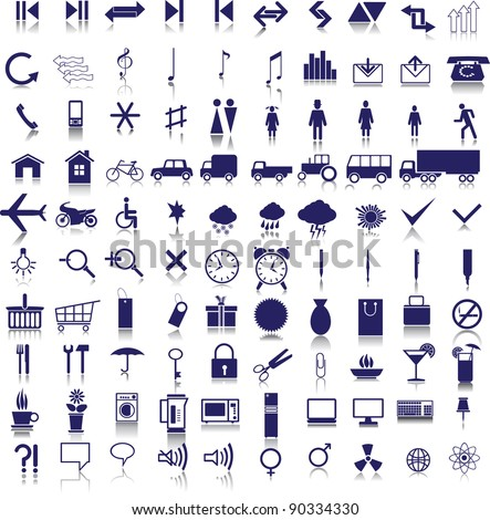99 dark blue web icons on a white background - stock vector