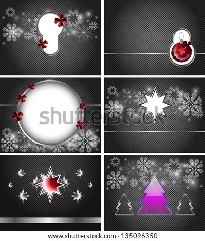 6 dark Christmas vector background with white snowflakes, red bows, Christmas trees and Christmas ball