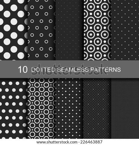 10 Dark geometric seamless patterns