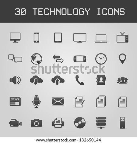 30 Dark technology icons vector illustration