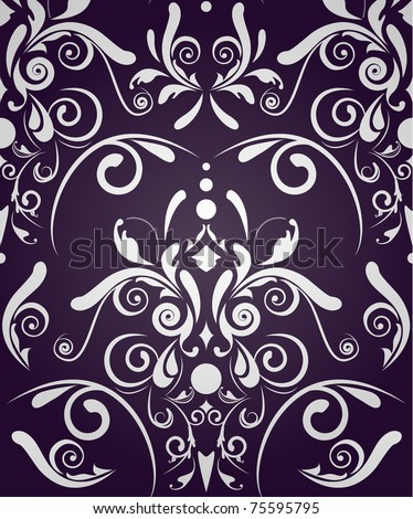 Dark violet vector seamless texture with damask pattern