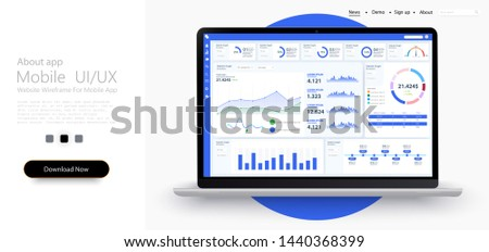 Dashboard, great design for any site purposes. Business infographic template. Vector flat illustration. Big data concept Dashboard user admin panel template design. Analytics admin dashboard. Blue.