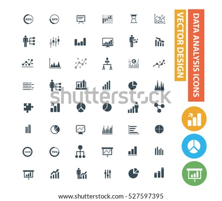 Data analysis icon set,clean vector