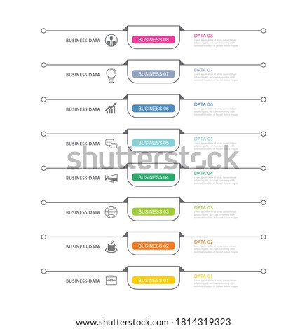 8 data infographics tab index template with thin line design. Vector illustration abstract background. Can be used for workflow layout, business step, banner, web design. Stock fotó ©