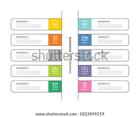 10 data infographics tab index template with thin line design. Vector illustration abstract background. Can be used for workflow layout, business step, banner, web design. Stock fotó ©