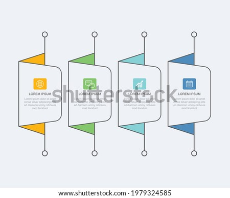 4 data infographics tab paper thin line index template. Vector illustration abstract background. Can be used for workflow layout, business step, banner, web design. Stock fotó ©
