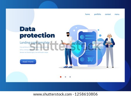 Data protection concept. Credit card check and software access data as confidential. Can use for web banner, infographics, hero images. Flat isometric illustration isolated. Landing page. Character