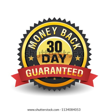 30 Day money back guarantee badge on golden badge with red ribbon.