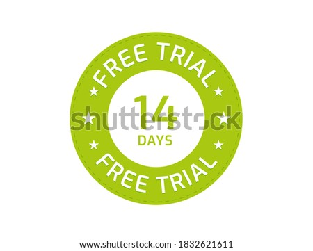 14 Days Free Trial stamp, 14 Days Free trial badges ストックフォト ©