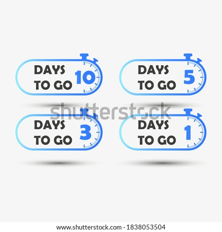 10,5,3,1 days left. Countdown timer icons set. Clock icon. vector illustration. Calculate the sale time. Blue icons isolated on white. Vector EPS10 stock photo