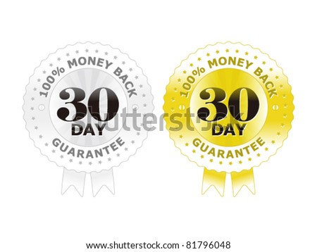 30 days money back guarantee label gold/silver