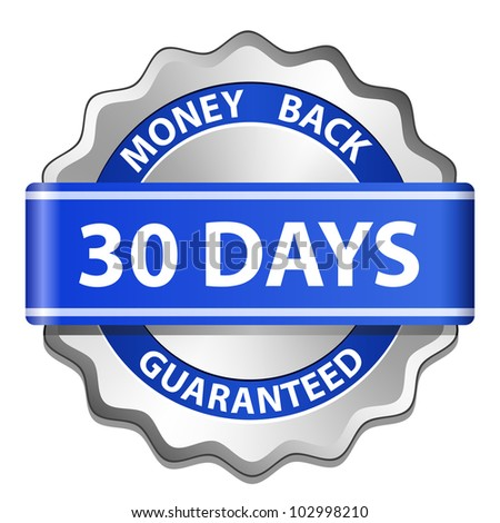 30 days money back guarantee label. Vector illustration