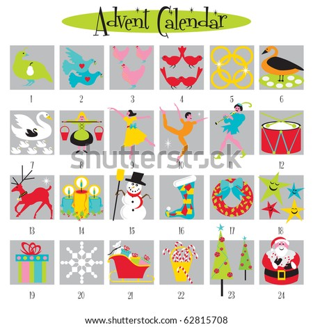 12 Days Of Christmas And Advent Calendar Stock Vector Illustration ...