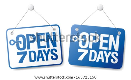 7 days open signs set