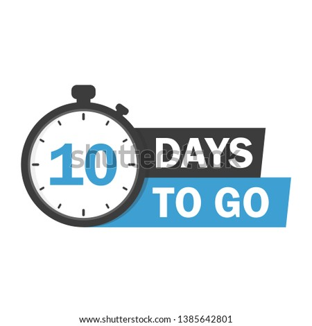 10 days to go flat icon. Vector stock illustration. label, blue alarm clock flat with ribbon, promotion icon, best deal symbol. stock photo
