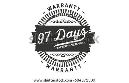 97 days warranty vintage grunge rubber stamp guarantee background #684371500