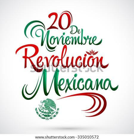 Shutterstock 20 de Noviembre Revolucion Mexicana - November 20 Mexican Revolution Spanish text, vector lettering design, Traditional mexican Holiday