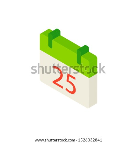 25 December Calendar Isometric Object. Vector Illustration of Christmas Sign Isometry.
