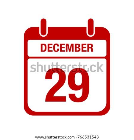29 december calendar red icon