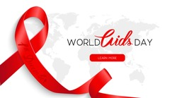 1 December World Aids day.  Aids Awareness Red Ribbon. World Aids Day concept. Vector Illustration
