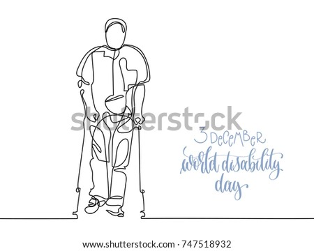 3 december world disability day hand lettering typography poster with continuous line black drawing in minimalistic style, elderly man walking with help of crutches, calligraphy vector illustration
