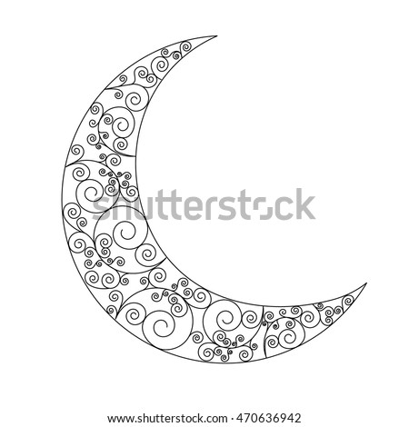 Decorated Swirl Crescent Moon Symbol Black Icon On White Background Can Be Used