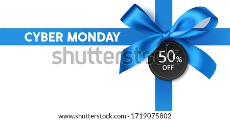 Decorative blue bow with ribbons and price tag isolated on white for cyber monday sale design. Vector illustration
