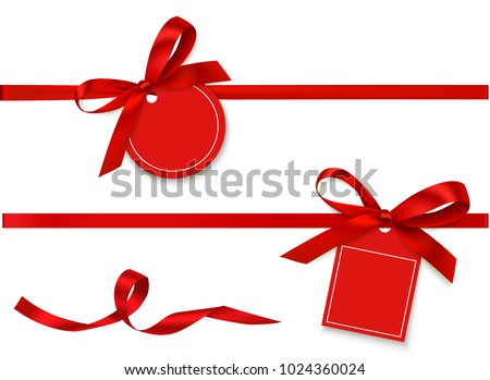 Decorative horizontal red ribbon with bow and sale tag for black friday sale design. Vector holiday decoration and empty label isolated on white background