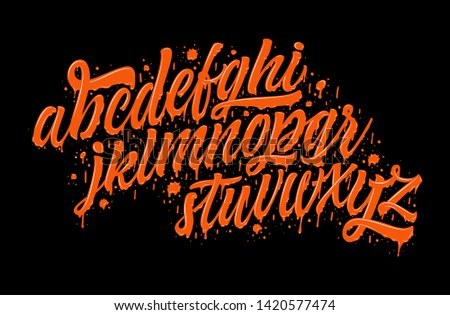 Decorative Liquid Orange ABC Letters. Nice Melted Typography for Your Design. Vector  Lettering and Typography for: Logo, Poster, Card, etc.