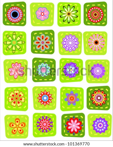 20  decorative patchwork colorful vector flower set