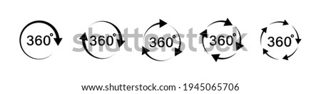 360 degree arrows icon set in flat style. 360 degree view rotation set. 360 degree rotation. Virtual reality. Vertical and horizontal view. Arrow icons. Minimal interface icon, symbol. Vector graphic