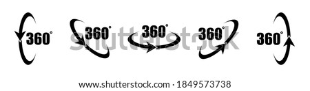360 degree icon set in flat style. 360 degree view rotation set. 360 degree view. Virtual reality. Vertical and horizontal view. Arrow icons. Minimal interface icon, symbol. Vector graphic. EPS 10