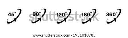 45 90 120 180 360 degree icon set in flat style. Different degree view rotation set. 360 degree view. Minimal interface icon, symbol. Different degrees icon set. 45-360 degrees. Vector graphic. EPS 10