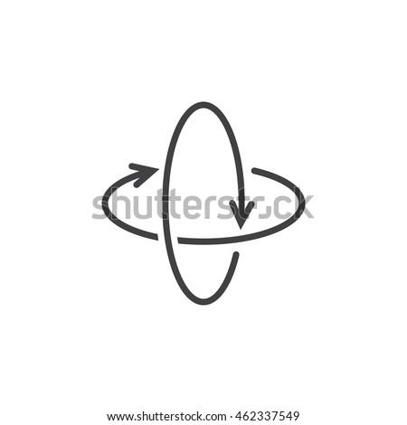 360 degree rotation arrows line icon