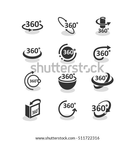 360 degree rotation icons set with rotation arrows vector illustration. 360 degree navigation pictogram, geometry symbol. 360 degree symbol and different 360 degree arrow icon.