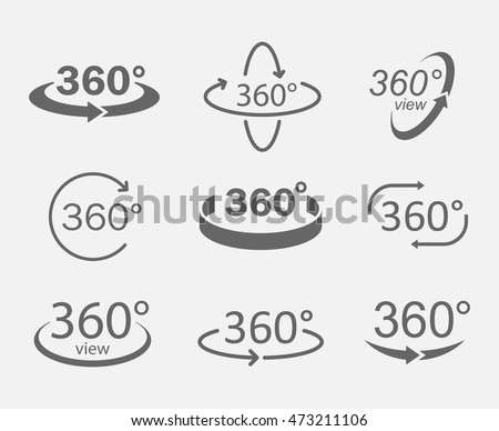 360 degree views of vector circle icons isolated from the background. Signs with arrows to indicate the rotation or panoramas to 360 degrees.