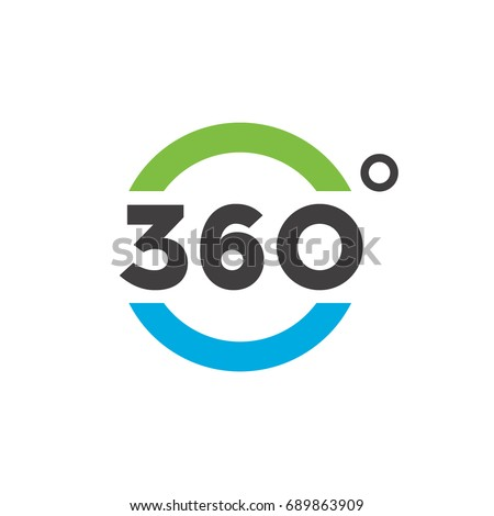 360 degrees company logo, vector colorful sign or icon
