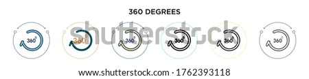 360 degrees icon in filled