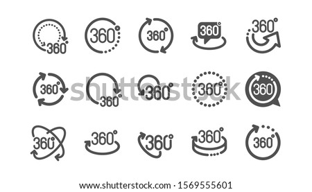 360 degrees icons. Rotate arrow, VR panoramic simulation and augmented reality. 360 degrees virtual gaming, abstract geometry, full rotation view icons. Classic set. Quality set. Vector