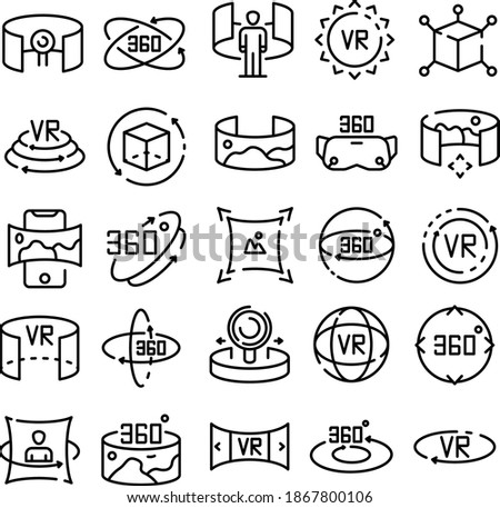 360 degrees icons set outline style