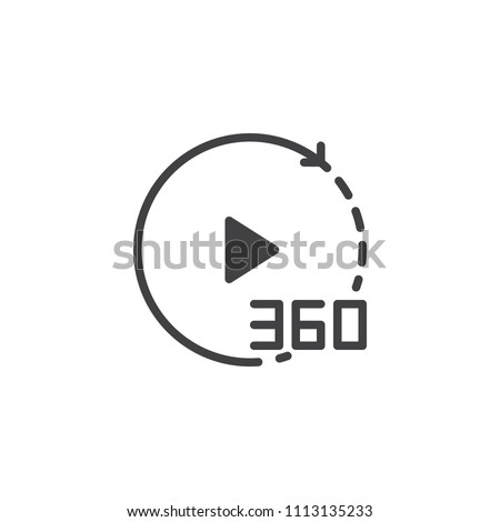 360 degrees video vector icon. filled flat sign for mobile concept and web design. Play button with rotate arrow simple solid icon. Symbol, logo illustration. Pixel perfect vector graphics