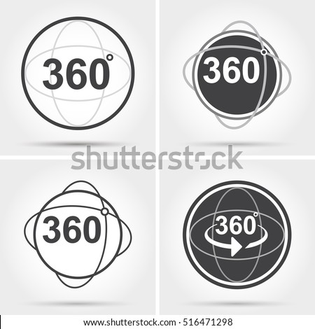 360 degrees view sign icon