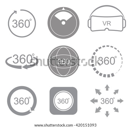 360 degrees view sign icon on