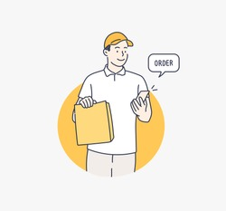 Delivery man in white uniform hold craft paper packet with food. Hand drawn style vector design illustrations.