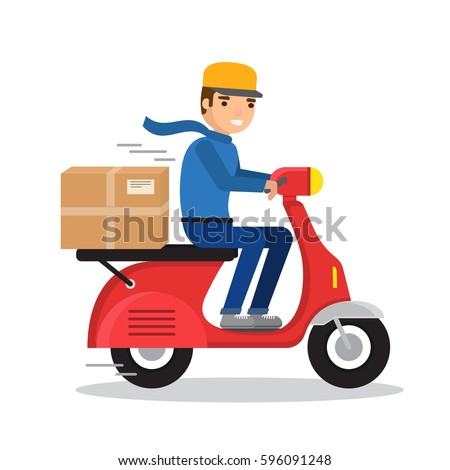 delivery man riding red motor
