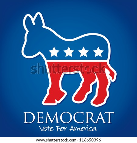 """Democrat Vote For America"" election card/poster in vector format."