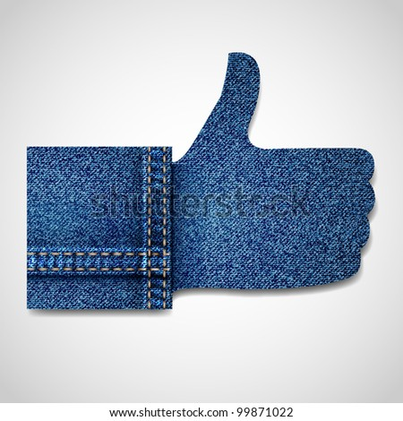 Denim Thumb up like hand symbol.Vector eps10