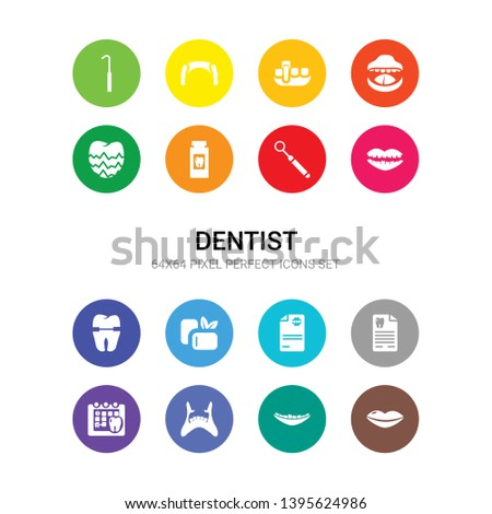 16 dentist vector icons set included lips, malocclusion, maxilla, medical appointment, medical prescription, medical record, mint gum, molar crown, mouth, mouth mirror, mouth wash icons